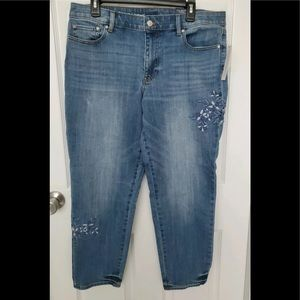 Talbots Flawless Girlfriend Blue Floral Jeans NWT